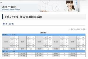 日本関税協会、通関士試験解答速報ページ